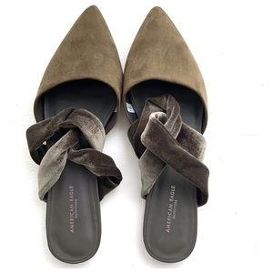 NWOT AEO Pointed Toe Knotted Velvet Mule Sandals